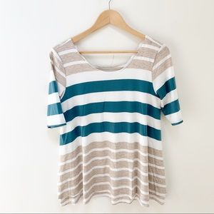 Anthro puella striped scoop neck blouse M